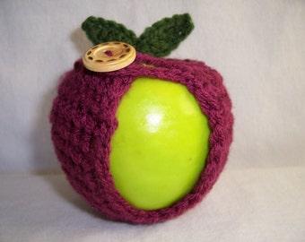 Handmade Crocheted Apple Cozy - Crochet Apple Cozy in Dark Raspberry Color