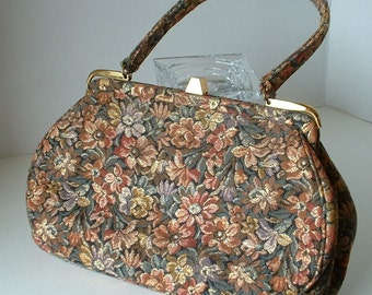 Vintage Floral Cloth Purse Mid Century Gloden Shing Thread Jacquard Needlepoint Look Rich Colors
