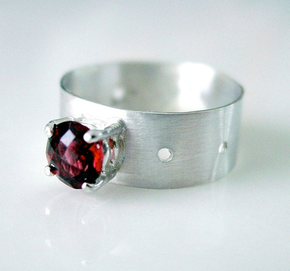 Garnet Ring Sterling Silver Breathing Room