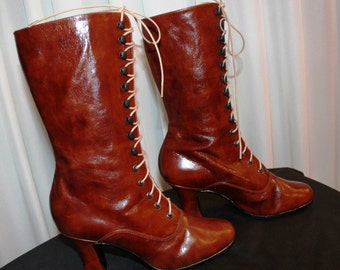 Burgundy leather Victorian Boots in polish burgundy leather Edwardian Boots Reddish brown Leather Boots Ankle Boots Custom shoes