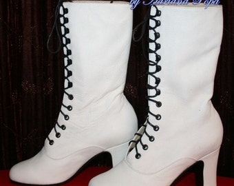 White Wedding shoes Victorian Boots Bride shoes in  White leather lace up and high heels Ankle boots size Order your size Customized boots