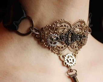 CLEARANCE Steampunk brass  keyhole choker  with key pendant Gothic necklace