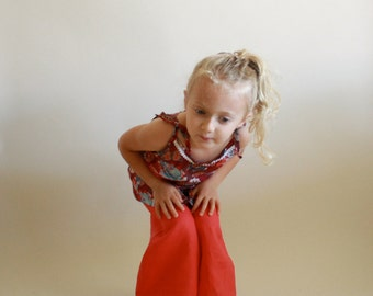 Wide Leg Pants with pockets / Girls & Boys / PDF sewing pattern sz 12m to 5T / Instant download