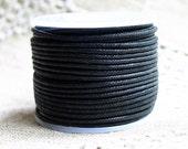 2mm Cotton Cord Black 25 Meter Spool