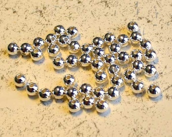 1000pcs Metal Bead 2.5mm Silver Plated Brass Round