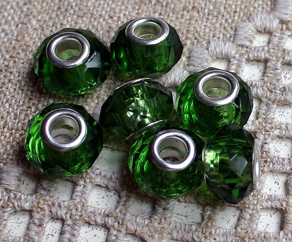 10pcs Faceted Glass Bead Green 15x8mm Rondelle Large Hole