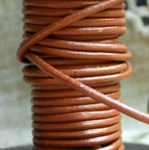 5 Yard Cord Leather 2mm Round Shiny Dark Marigold