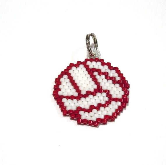 Beaded Volleyball Charm, Brick Stitch Pendant, Sports Jewelry
