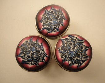 Eight Handmade Round Cranberry Red and Blue Cabinet Knobs Pulls  Polymer Clay over Metal Decorative knobs  Cranberry and Blue