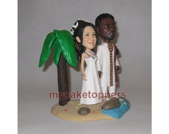 beach wedding cake topper, with plam tree, beach, sand, water, cake topper for wedding,