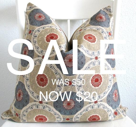 SALE  - Decorative pillow cover - Throw pillow - Suzani pillow - 20x20 - Antique Bronze - Blue - Brunt Orange - Cream