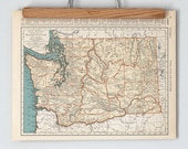 1930s Antique State Maps of Washington and Virginia