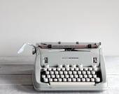 1960s Hermes 3000 Typewriter / Seafoam Green / Mid Century Manual Typewriter