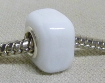 White Square Cube Shaped Lampwork Bead Large Hole European Charm Bead Silver Cored