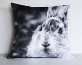 "16 inch decorative pillow RABBIT BUNNY cushion, woodland cushion cover, pillow, 16"" cushion, 40cm pillow, animal cushion animal pillow"