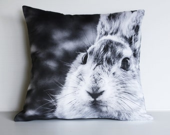 "Rabbit cushion/ animal pillow/ kids decor/  16"" cushion/ 40cm pillow /animal cushion/ animal pillow/ kids bedroom / monochrome nursery"