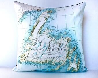 Map pillow, decorative pillow, throw cushion , 16 x16 cushion cover, pillow cover, 40cm cushion cover, NEWFOUNDLAND