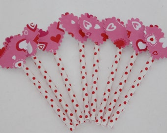 Valentine Heart Cupcake and Cake Toppers 8 Red and Pink