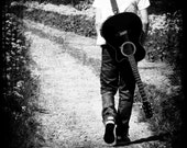 Guitar Photography Black and White Grey Acoustic Music Boy Teens Men Square 8x8 Print