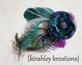 TANDY - Dark Teal Jade Green and Eggplant Plum Purple Handmade Flower and Peacock Feather Headpiece w/ Iridescent Rhinestone Beaded Center