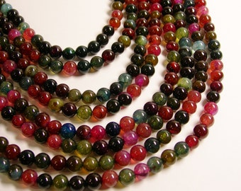 Agate crackle round multicolor - 8 mm round beads -1 full strand - 51 beads
