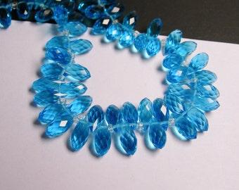 Faceted teardrop crystal briolette beads - 24 pcs - 12mm by 6mm - top sideways drill - aqua blue