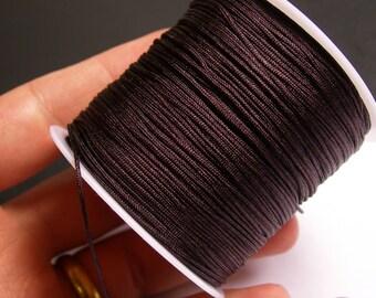Nylon Cord - knotting/beading cord - 1mm - 70 meter - 230 foot - Dark brown - N2