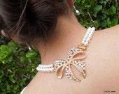 Bridal Wedding Necklace,Bridal Rhinestone Necklace,Ivory or White Pearls,Statement Bridal Necklace,Rhinestone Bow Brooch Necklace,HARPER