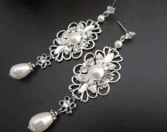 Bridal Earrings, pearl Rhinestone earrings, Wedding Earrings, Chandeliers Earrings, swarovski pearl earrings, statement earrings, DINA