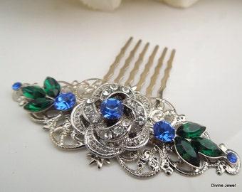 Bridal Rhinestone Hair Comb, Wedding Rhinestone Hair Comb,Rose Rhinestone Hair Comb,Swarovski Crystals,Emerald Green,Something Blue,ROSELANI