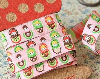 Ribbon-Sewing Tape-Jacquard Ribbon 1 yard-Pink Matryoshka Dolls