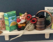 DOLLS House Miniatures - Gardeners Potting Shed Wall Shelf