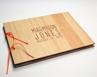 DIY Guest Book. Wood Wedding Book. Engagement Scrapbook. Bridal Gift