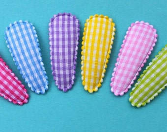 Toddler Snap Clips 40mm Gingham Snap Clips Set