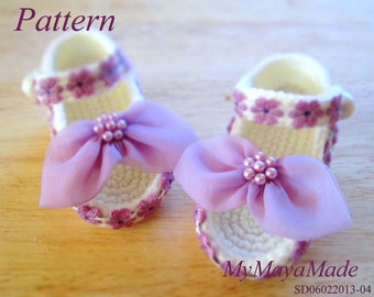 Crochet Pattern - Purple Flowery Crochet Baby Sandals PDF Pattern - SD06022013-04 - Instant Download