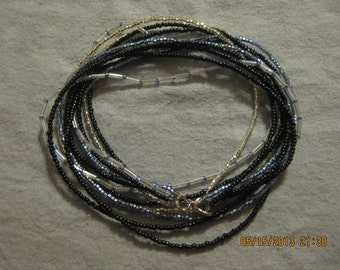 Black and Blue Beaded All in One Necklace