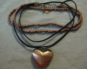 Beaded and Leather Copper Puff Heart Necklace