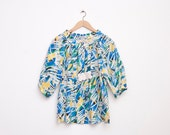 Shirt Multicolor puff blouse colorfull strokes NOS Vintage