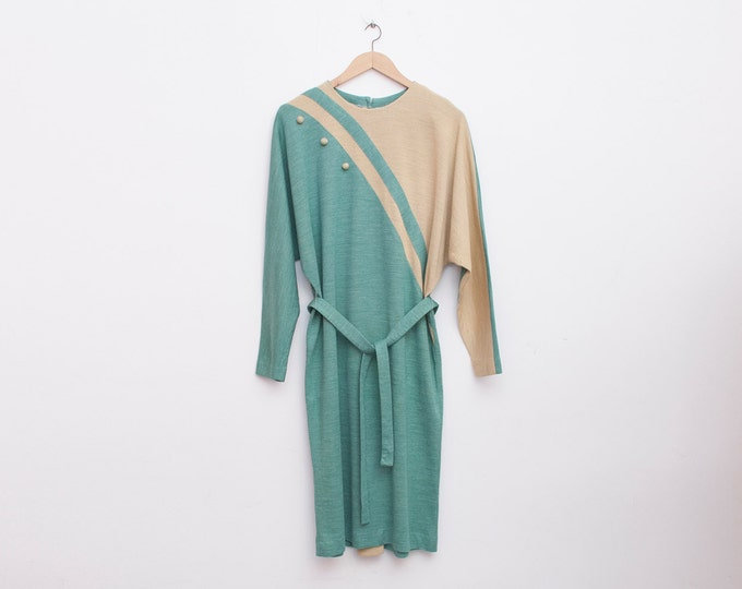 80s NOS vintage geometrick green and beige size M