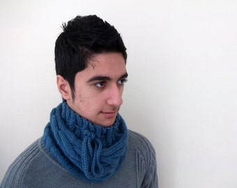 Knitting  Indigo cowl or hat,scarf-for man or women