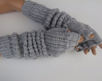 "Light Gray Half Finger- Fingerless Gloves-Length:17 ""-Extra Long"