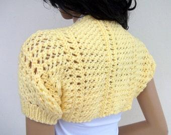Yellow Elegant Shrug-Knitting  Shrug - Any Season-Brown Bolero-New Item