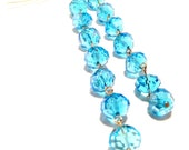 Handcrafted Costume Jewelry Long Duster Blue Swarovski Crystal Bead Dangle Earrings