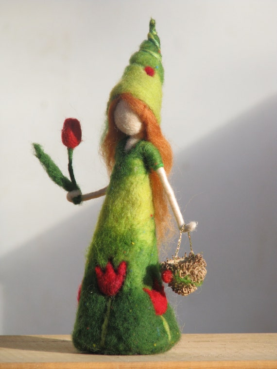Needle felted waldorf inspired doll Its time for the tulip girl to come