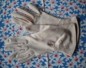 Vintage 50s Gloves, Pink with Flowers, M-L
