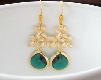 Emerald Drop Earrings, Gold Cherry Blossom and Emerald Dangle Earrings - Also Available in Silver, Bridesmaid Earrings, Bohemian Earrings