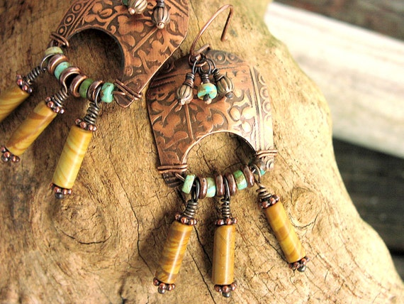 Ladies Roman Sheild Copper Earrings Turquoise Blonde African Wood Beads