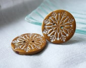 Handmade Buttons / Antique Gold Rustic Folk Snowflakes Handcrafted / Winter Button