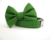 Houndstooth Bow Tie Dog Collar - Emerald Houndstooth with Nickel Hardware