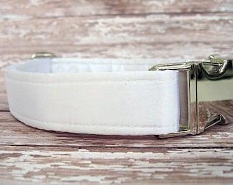 White Satin Wedding Dog Collar